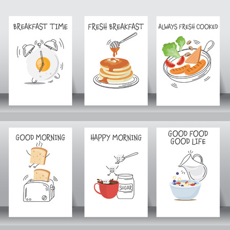 funny breakfast Posters and background set. flat and doodle design. there are egg, coffee , cereal with milk, pancake, bread, vegetable and hotdog  layout template in A4 size. vector illustration.