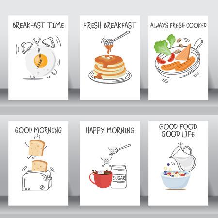 Poster divertido de desayuno y de conjuntos de fondo. El diseño plano y del doodle. hay huevo, café, cereales con leche, panqueques, pan, verduras y plantilla de diseño del perrito caliente de tamaño A4. ilustración vectorial.