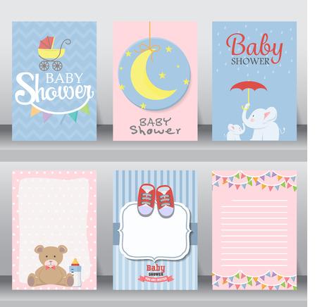 Buon compleanno, baby shower per il neonato celebrazione di saluto e una carta di invito o una nota. ci sono scarpe, luna, vestito. modello di layout in formato A4. illustrazione vettoriale. testo può essere aggiunto Archivio Fotografico - 54795279
