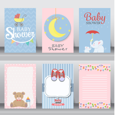 happy birthday, baby shower for newborn celebration greeting and invitation card or note.  there are shoes, moon, dress. layout template in A4 size. vector illustration. text can be added