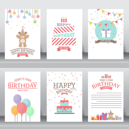 birthday party kids: happy birthday, holiday, christmas greeting and invitation card.  there are teddy bear, gift boxes, confetti, cake and balloon. vector illustration Illustration