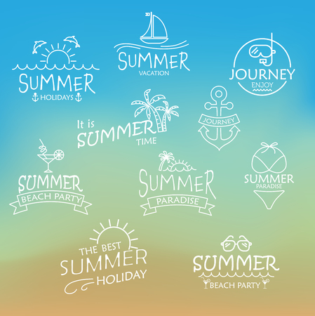 summer holidays: elements for Summer calligraphic designs,  All for Summer beach holidays, tropical paradise, sea, sunshine, weekend tour, beach vacation, adventure labels and  journey.  vector illustration Illustration