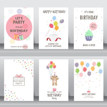 feliz cumpleaños, fiesta, saludo de Navidad y la tarjeta de invitación. hay tipografía, cajas de regalo, confeti, torta y el oso de peluche. plantilla de diseño de tamaño A4. ilustración