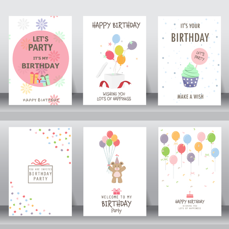 pastel backgrounds: happy birthday, holiday, christmas greeting and invitation card.  there are typography, gift boxes, confetti, cake and teddy bear. layout template in A4 size. illustration