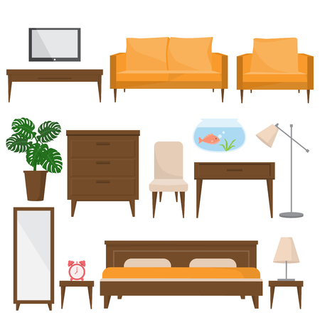 mid century: living room, bed room and office furniture in modern style. design elements, perfect for any business related to the furniture industry. illustration