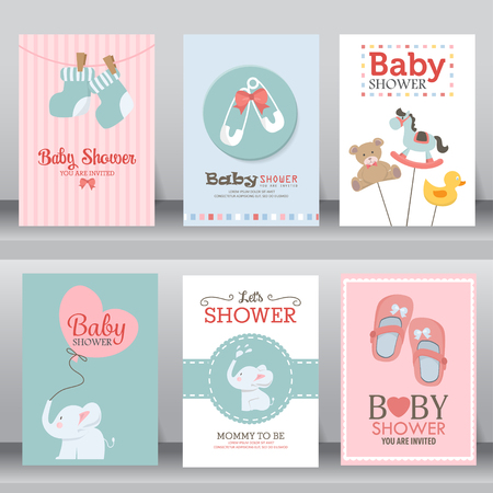 happy birthday, baby shower for newborn celebration greeting and invitation card or note. there are shoes, elephant, teddy bear, brooch, heart, toy. layout template in A4 size. illustration.