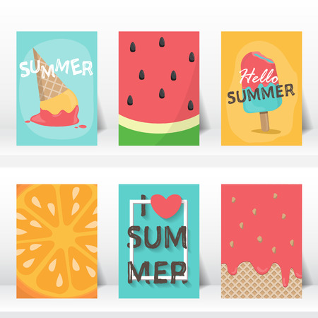 summer holiday: summer, holiday, vacation poster set.  flat and hand draw design. can be use for greeting and invitation card.  background , backdrop. illustration Illustration