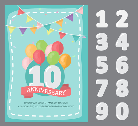 flat design of happy birthday, anniversary, celebration poster, there are template of card design and number. brochure layout template in A4 size. illustration