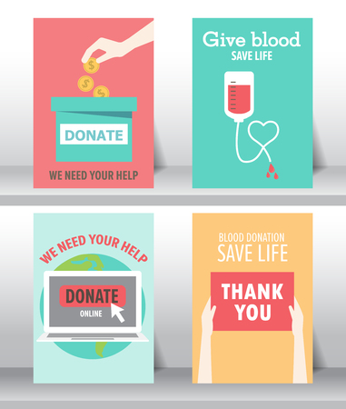 poor people: give and share your love to poor people. charity and donation poster set. flat design. can be use for background and invitation card. brochure layout template in A4 size. illustration