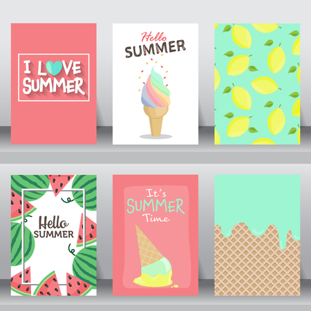 summer, holiday, vacation poster set. flat design. can be use for greeting and invitation card.  background , backdrop.  layout template in A4 size. illustration