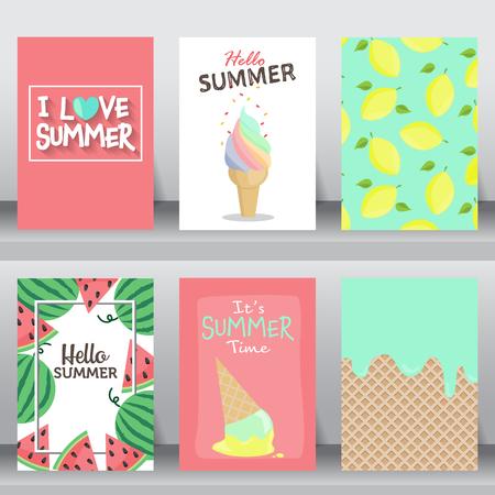 Zomer, vakantie, vakantie poster set. plat ontwerp. Kan worden gebruikt voor groet- en uitnodigingskaart. Achtergrond, achtergrond. Lay-out sjabloon in A4 formaat. illustratie