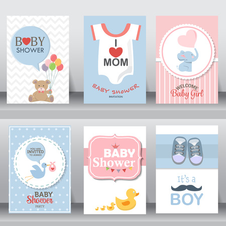 happy mother and baby shower for newborn celebration greeting and invitation card. shoe, dress, bird, elephant, brochure layout template in A4 size. illustration. Иллюстрация