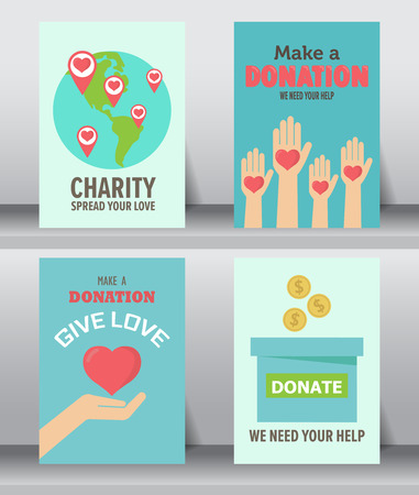 humanitarian: give and share your love to poor people. charity and donation poster set. flat design. can be use for background and invitation card. brochure layout template in A4 size. illustration