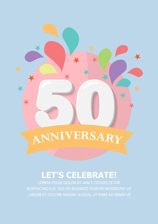 flat design of happy birthday, anniversary celebration poster, for say thank you to like, follower and fans page. there are template of number. brochure layout template in A4 size. illustration Vektoros illusztráció