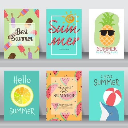 Sommer, Urlaub, Urlaub Plakat gesetzt. flaches Design. kann die Verwendung für Glückwunschkarten und Einladungskarte sein. Hintergrund, Hintergrund. Layout-Vorlage im A4-Format. Vektor-Illustration