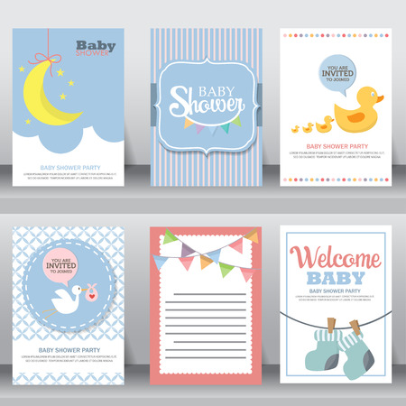 happy birthday, holiday, baby shower celebration greeting and invitation card. layout template in A4 size. vector illustration. text can be added  イラスト・ベクター素材
