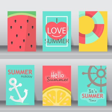 summer holiday: summer, holiday, vacation poster set. flat design. can be use for greeting and invitation card.  background , backdrop.