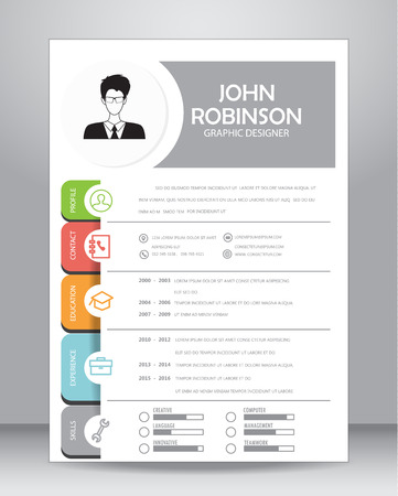 user icon: Job resume or CV template layout template in A4 size.