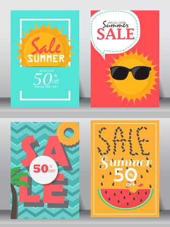 holiday vacation: summer holiday vacation poster set Illustration