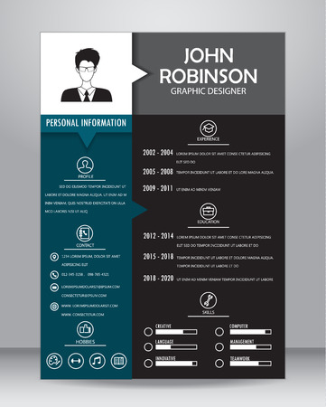 circle icon: Job resume or CV template layout template in A4 size