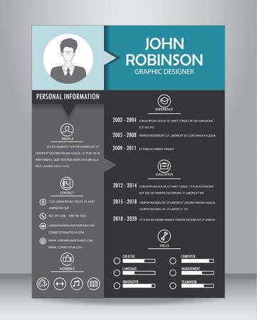 仕事の履歴書または CV テンプレート レイアウト テンプレート A4 サイズで。ベクトル図