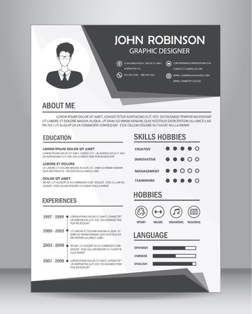 template: Job resume or CV template layout template in A4 size. vector illustration Illustration