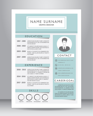 Job resume or CV template layout template in A4 size. vector illustration Vettoriali