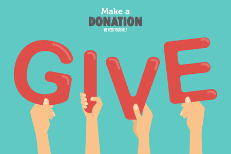 give and share your love to poor people. charity and donation poster set. flat design. can be use for background and invitation card. brochure layout template in A4 size. vector illustration Vettoriali