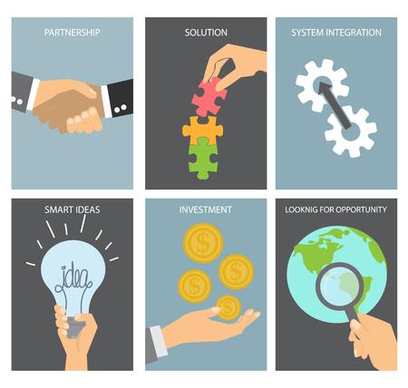 smart goals: Business concept poster set. flat design.background , backdrop or poster.  layout template in A4 size. vector illustration