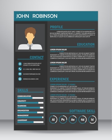 Job resume or CV template layout template in A4 size. vector illustration Ilustracja