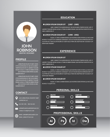 examples: Job resume or CV template layout template in A4 size. vector illustration Illustration