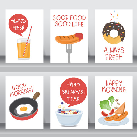 donut style: happy breakfast background. use for poster and greeting card. there are vegetable salad, egg, orange juice, chocolate donut, hotdog, Cereal. layout template in A4 size. vector illustration Illustration