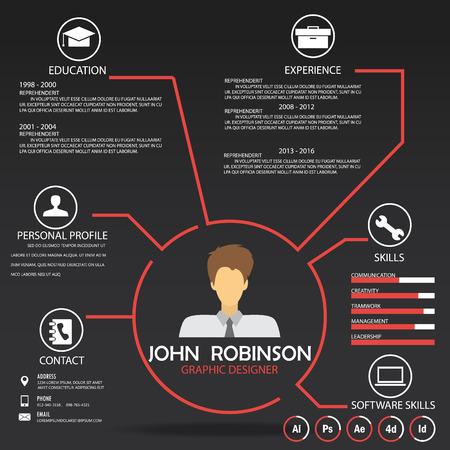 resume (cv) template infographics achtergrond en element, kan worden gebruikt voor persoonlijke statistiek, human resource data, sollicitatiegesprek, webdesign, info grafiek. vector illustratie