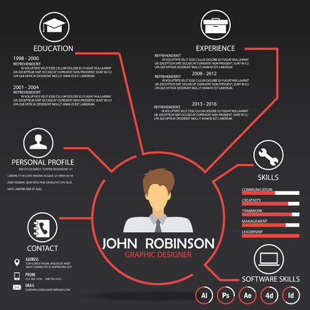 web template: resume (cv) template infographics background and element, Can be used for personal statistic , human resource data, job interview, web design, info chart. vector illustration
