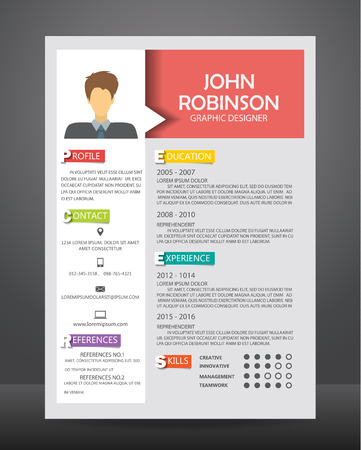 curriculum: Job resume or CV template layout template in A4 size.
