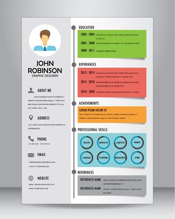 Curriculum di lavoro o modello di layout modello di CV in formato A4. Archivio Fotografico - 61055369