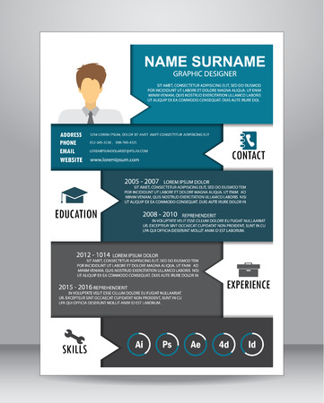 Job resume or CV layout template in A4 size.