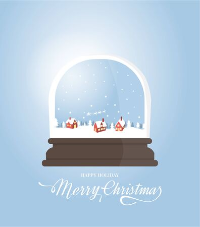 christal: Merry Christmas greeting card template and background. snow village and Chrystal glass flat design.