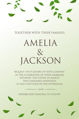 illustration invitation: natural design wedding card, rustic style celebration invitation. vector illustration Illustration
