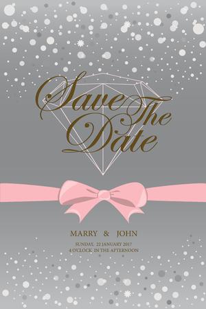 deluxe: vintage wedding invitation, template card. vector illustration Illustration