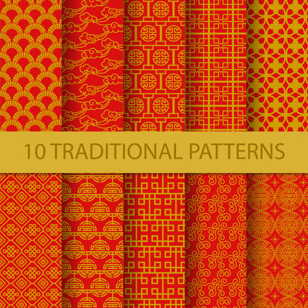 photography backdrop: 10 different traditional chinese patterns. Endless texture can be used for wallpaper, pattern fills, web page background,surface textures. vector illustration