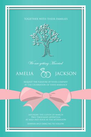 illustration invitation: vintage wedding invitation, template card. vector illustration Illustration