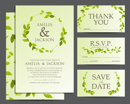 natural design wedding card, rustic style, spring season celebration invitation. background vector illustration