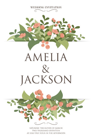 celebration: natural design wedding card, rustic style celebration invitation. vector illustration Illustration