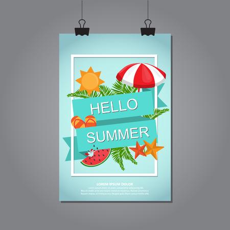 summer vacation background. flat design. vector illustration