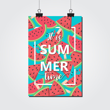 red and fresh watermelon background. for summer season. vector illustration Illustration