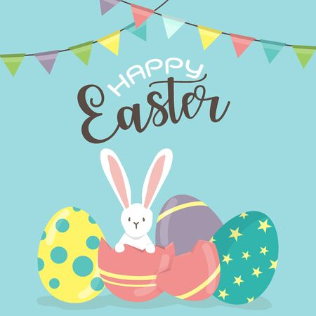 rabit: Happy Easter day, holiday colorful eggs on  blue  background. can be use for sale advertisement, backdrop, greeting card and poster vector. Illustration