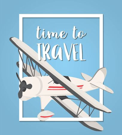 airplane travel: Travel with airplane on blue background. vector illustration.