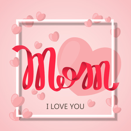happy: happy mother day, holiday pink flower on blue  background. can be use for sale advertisment, backdrop. vector