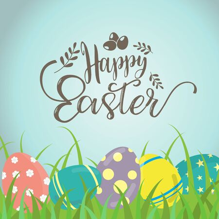 Creative design of a happy Easter day, holiday colorful eggs on  blue  background. can be use for sale advertisement, backdrop, greeting card and poster vector. Illustration